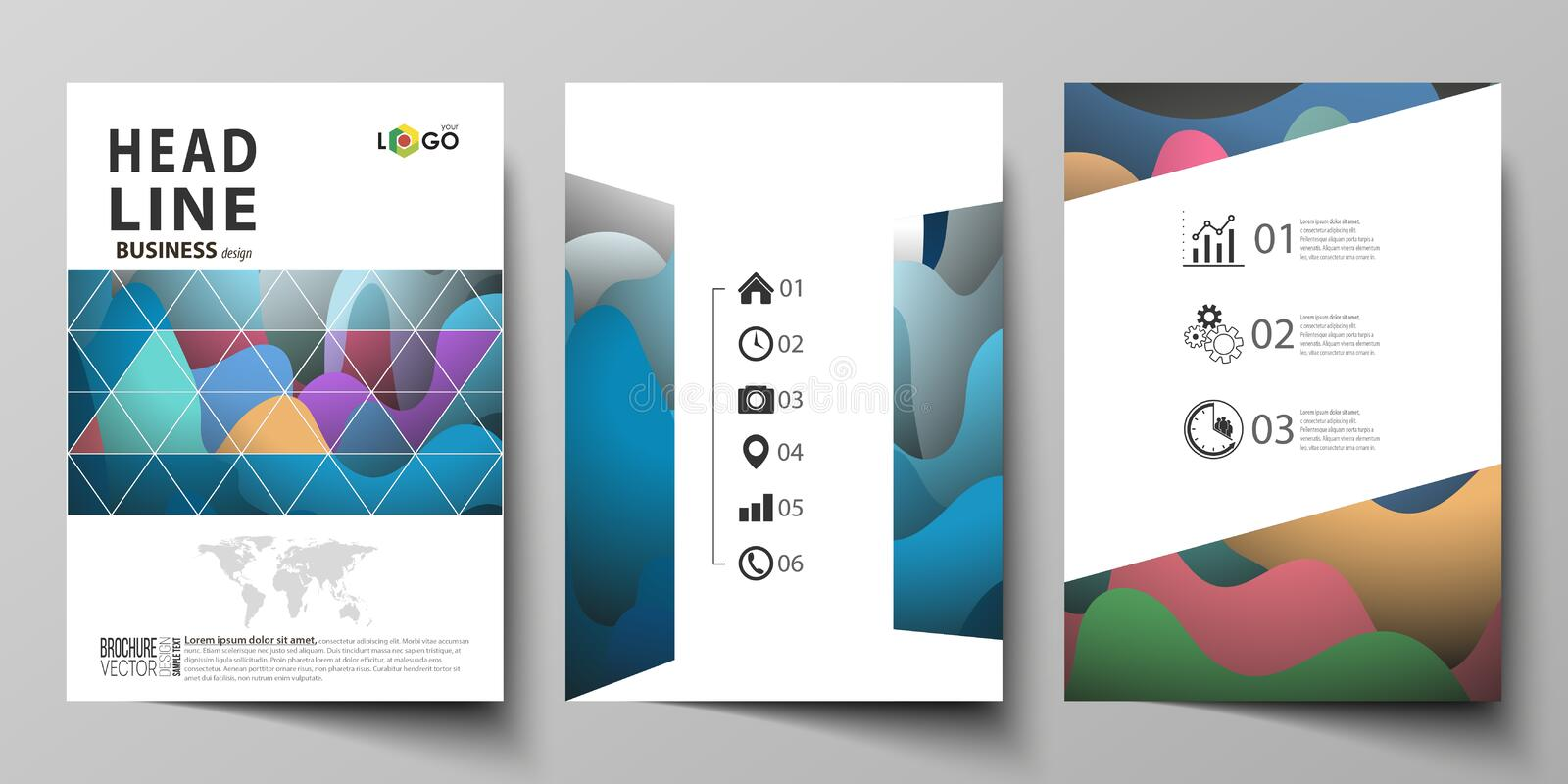 Business templates for brochure, magazine, flyer, booklet or annual report. Cover design template, flat vector layout in. Business templates for brochure vector illustration