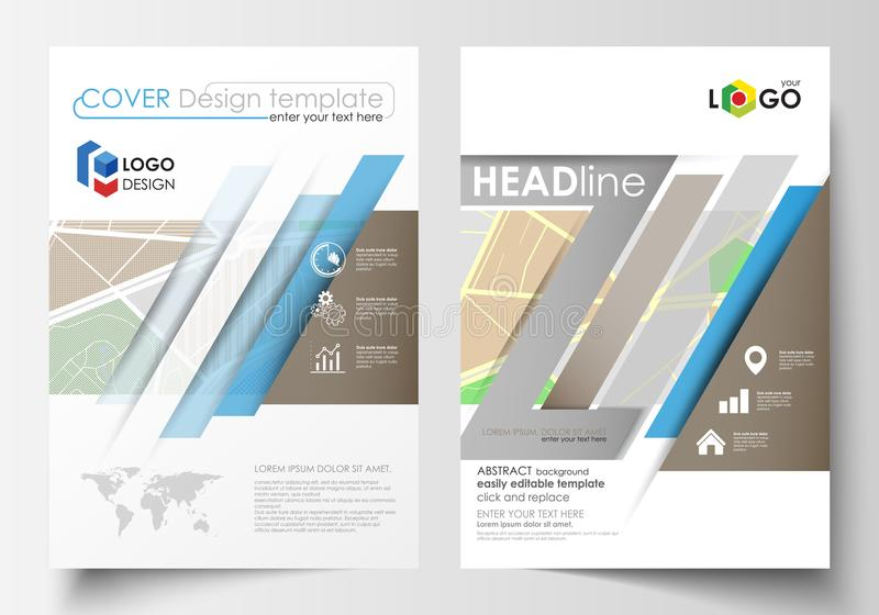 Business templates for brochure, magazine, flyer, booklet or annual report. Easy editable layout in A4 size. City map. Business templates for brochure, magazine royalty free illustration