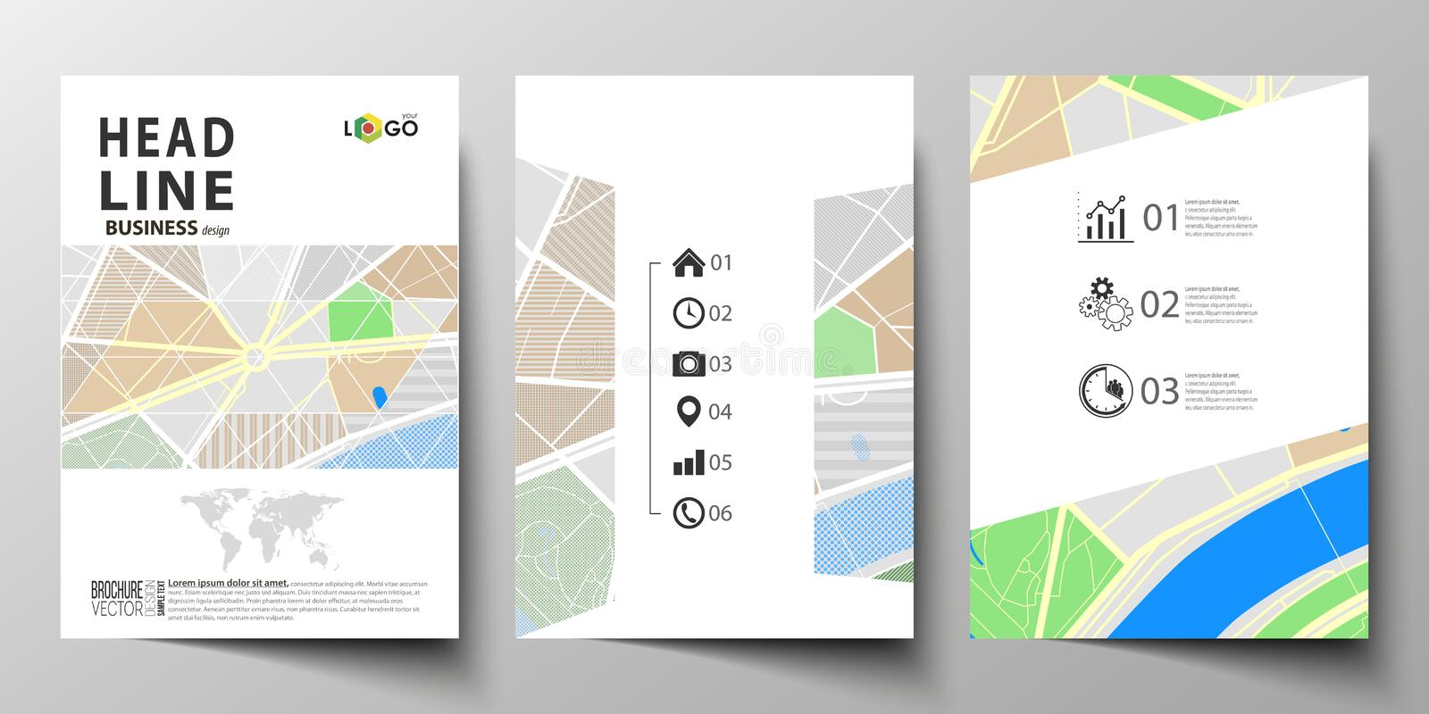 Business templates for brochure, magazine, flyer, booklet or annual report. Easy editable layout in A4 size. City map. Business templates for brochure, magazine stock illustration