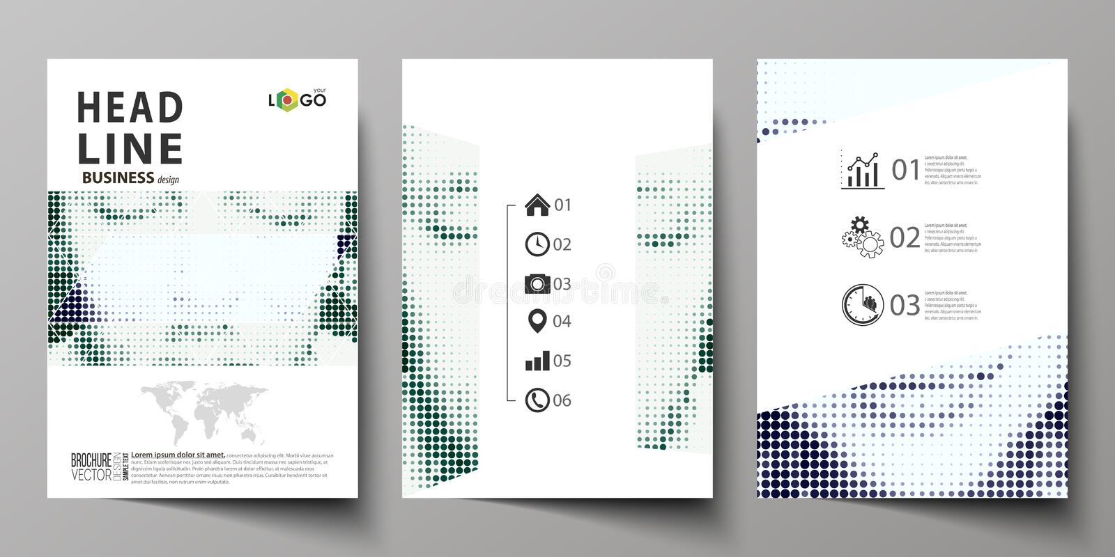 Business templates for brochure, magazine, flyer, booklet. Cover design template, Abstract layout in A4 size. Halftone royalty free illustration