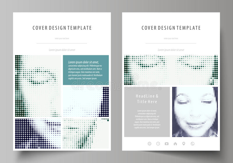 Business templates for brochure, magazine, flyer, booklet. Cover design template, Abstract layout in A4 size. Halftone. Business templates for brochure, magazine royalty free illustration