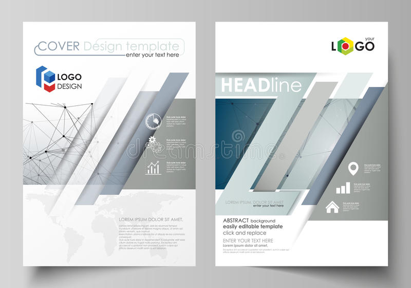 Business templates for brochure, magazine, flyer, booklet. Cover design template, vector layout in A4 size. DNA and. Business templates for brochure, magazine royalty free illustration