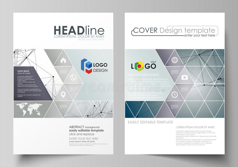Business templates for brochure, magazine, flyer, booklet. Cover design template, vector layout in A4 size. DNA and. Business templates for brochure, magazine stock illustration