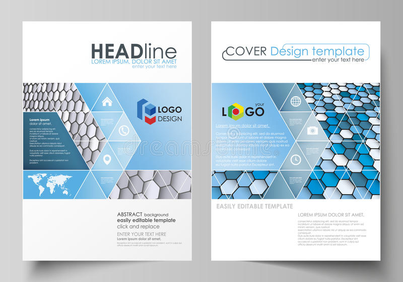 Business templates for brochure, magazine, flyer, report. Cover design template, vector layout in A4 size. Blue and gray royalty free illustration