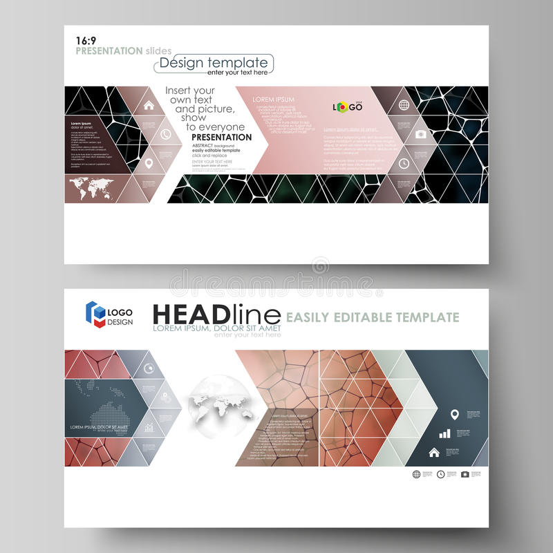Business templates in HD format for presentation slides. Vector design layouts. Chemistry pattern, molecular texture. Business templates in HD format for royalty free illustration