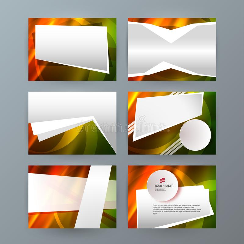 set templates horizontal presentation brochure powerpoint slide13 royalty free illustration