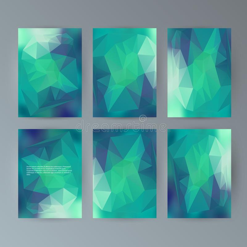 Set flyer background modern triangle design25 vector illustration