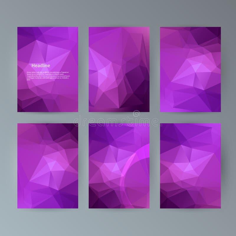 Set flyer background modern triangle design30 vector illustration