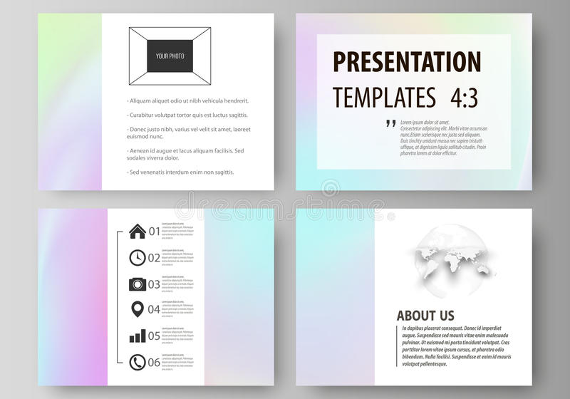 Business templates for presentation slides. Abstract vector layouts in flat design. Hologram, background in pastel stock illustration