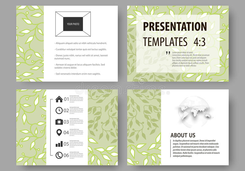 Business templates, presentation slides. Easy editable layouts, flat design. Green color background with leaves. Spa. Set of business templates for presentation royalty free illustration
