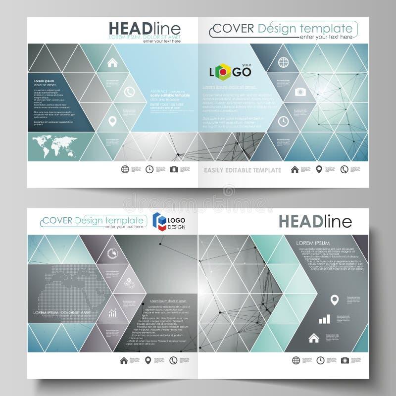 Business templates for square design bi fold brochure, flyer, booklet or annual report. stock illustration