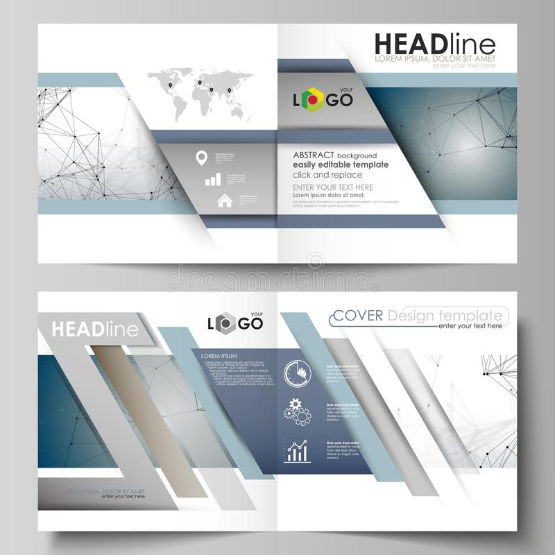 Business templates for square design bi fold brochure, flyer, booklet, report. Leaflet cover, vector layout. DNA and royalty free illustration
