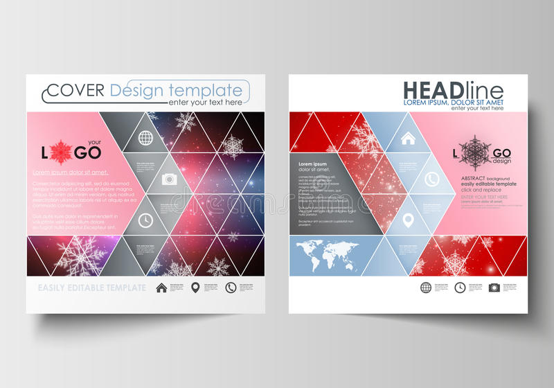 Business templates for square design brochure, magazine, flyer, booklet or annual report. Leaflet cover, abstract flat layout, easy editable blank. Christmas royalty free illustration