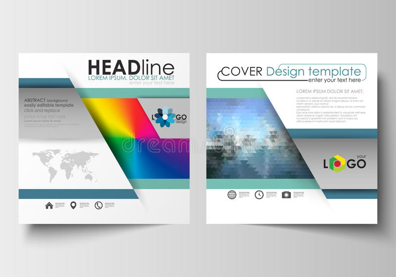 Business templates for square design brochure, magazine, flyer, booklet or annual report. Leaflet cover, flat layout. Business templates for square design stock illustration