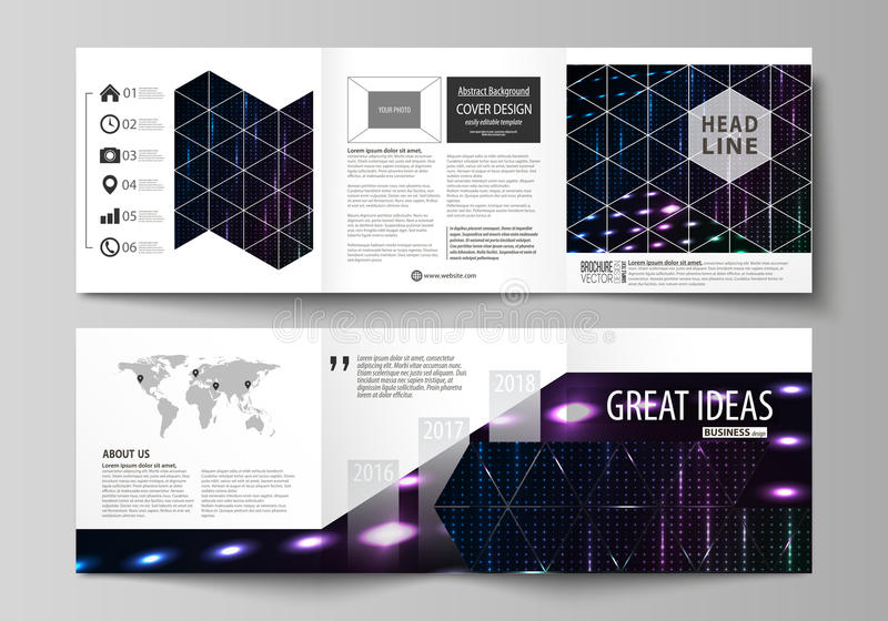Business templates, tri fold square brochures. Leaflet cover, vector layout. Abstract colorful neon dots, dotted. Set of business templates for tri fold square royalty free illustration