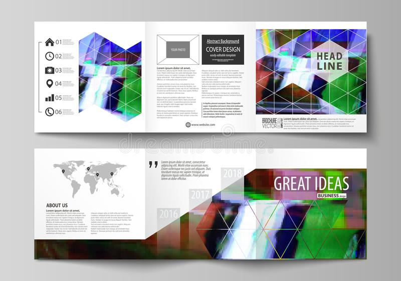 Business templates for tri fold square design brochures. Leaflet cover, abstract vector layout. Glitched background made vector illustration