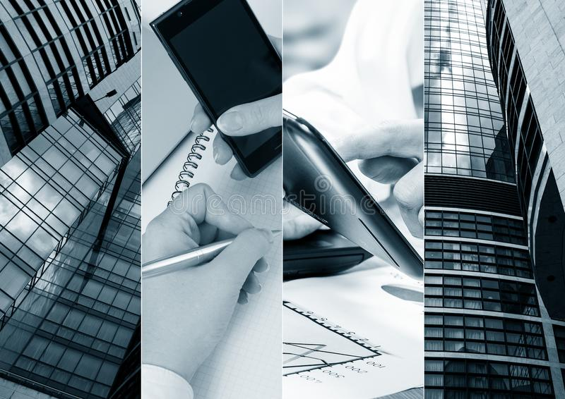 Business theme photo collage composed of few images. Business theme photo collage composed of few images stock photos