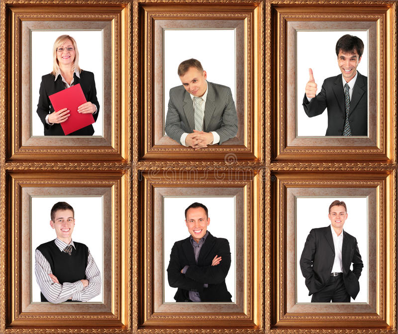 Business themed collage. Framed half-length portraits of six successful bussinessmen stock photos