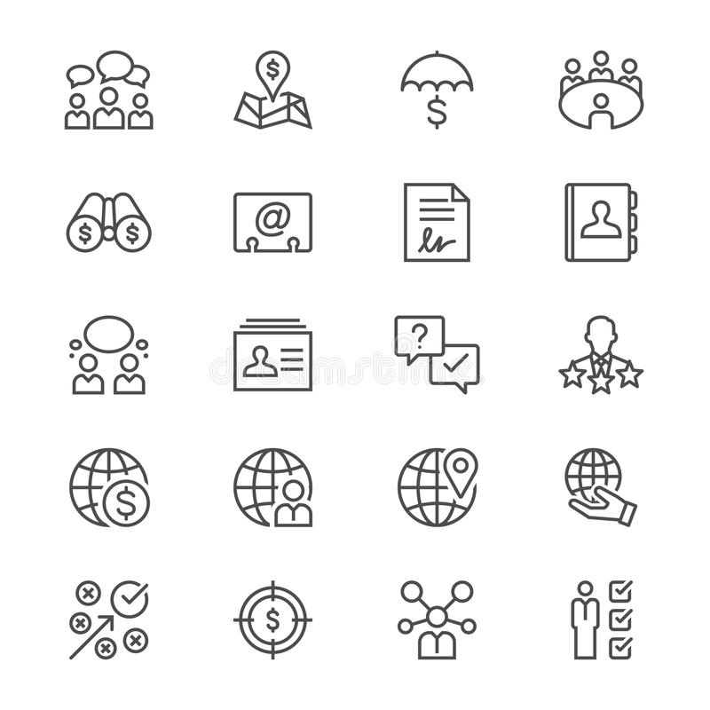 Business thin icons. Simple, Clear and sharp. Easy to resize stock illustration
