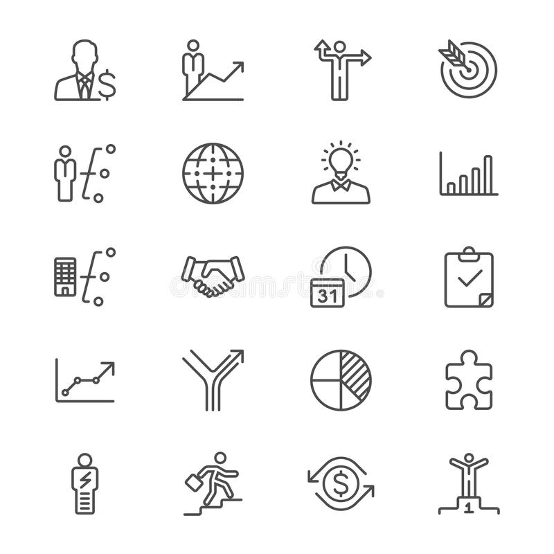 Business thin icons. Simple, Clear and sharp. Easy to resize