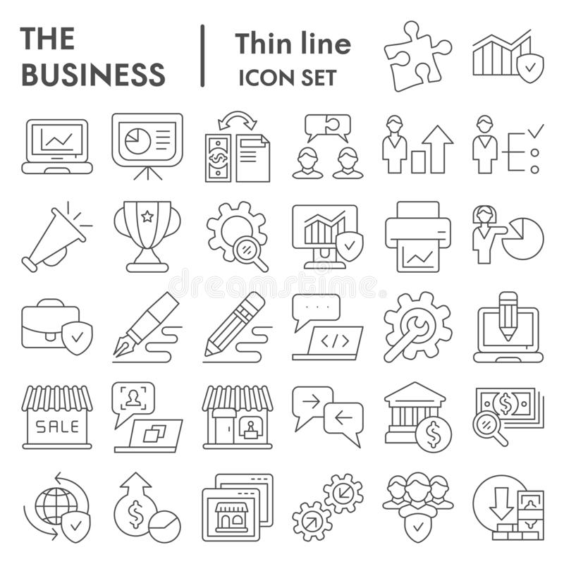Business thin line icon set, management symbols collection, vector sketches, logo illustrations, marketing signs linear vector illustration