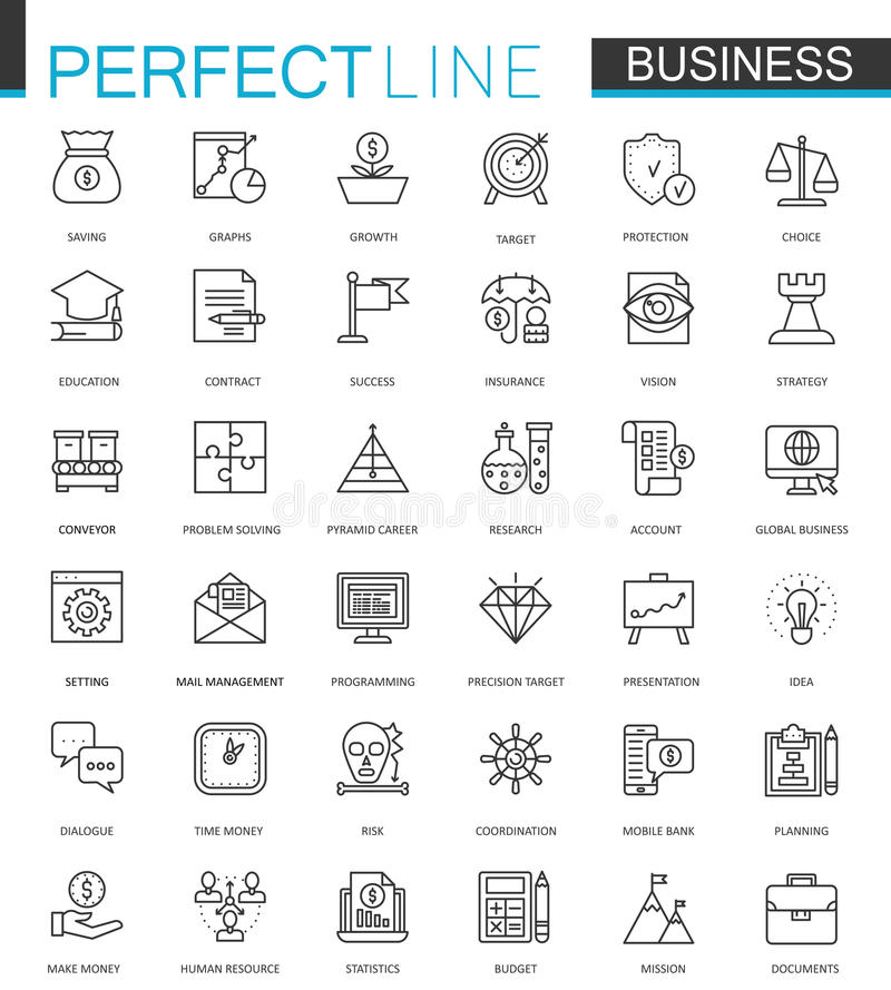 Business thin line web icons set. Outline stroke icon design. vector illustration