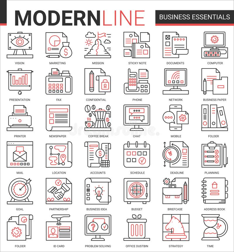 Free Business Thin Red Black Line Icon Vector Illustration Set With Office Objects, Equipment And Documents For Financial Royalty Free Stock Image - 196514676