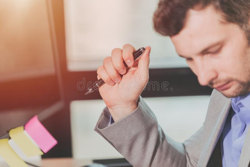 Business Thinking, Businessman Decision reading for sign contract royalty free stock photos