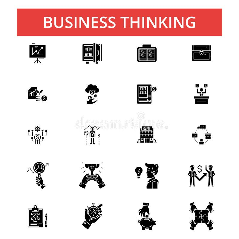 Business thinking illustration, thin line icons, linear flat sign royalty free illustration