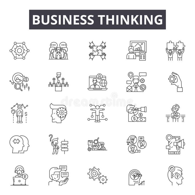 Business thinking line icons, signs, vector set, outline illustration concept stock illustration