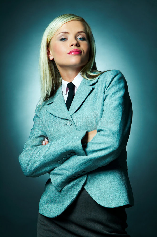 Business Tie. Young Business woman wearing white shirt, jacket and black tie stock images