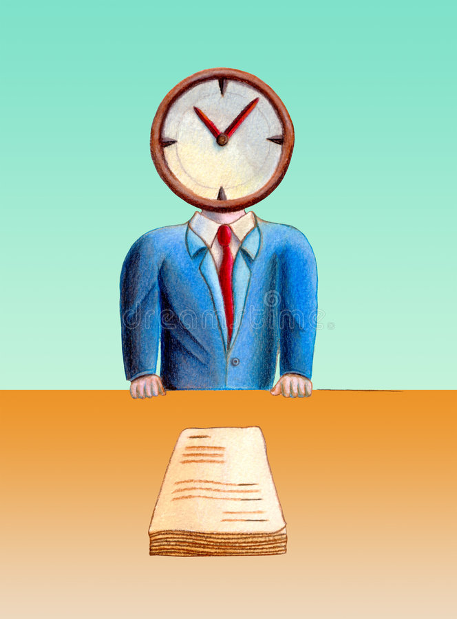 Business time. Business man with his head replaced by a clock. Documents on table. Hand drawn illustration stock illustration
