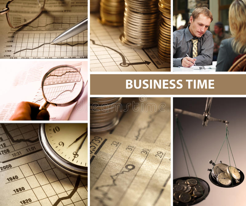 Business time collage. 7 business time collage set royalty free stock photos