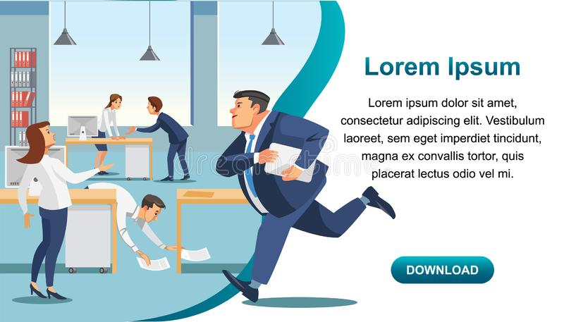 Business Time Management and Productivity Vector. Time management service, business organization and personal productivity mobile app flat vector vertical web stock illustration