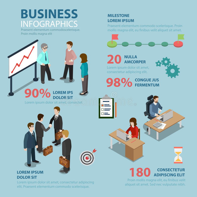 Business timeline milestone marketing flat vector infographics. Business timeline milestone flat style thematic infographics concept. Report marketing targeting royalty free illustration