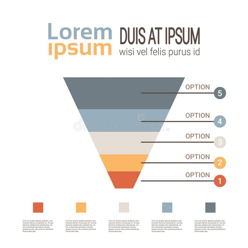 Business timeline process chart infographics funnel template used for presentation and workflow layout diagram, web stock illustration