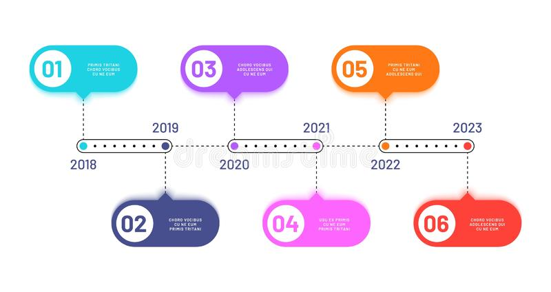 Business timeline. 6 process steps, horizontal workflow processing diagram. Infographics vector flowchart royalty free illustration