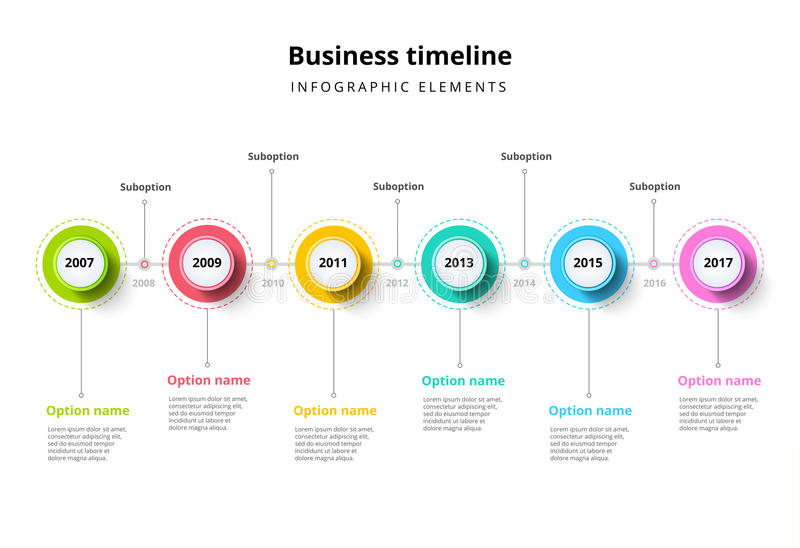 Business timeline in step circles infographics. Corporate milestones graphic elements. Company presentation slide template with y royalty free illustration