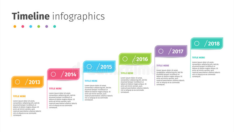 Business timeline with step flags infographics. Corporate milestones graphic elements. Company presentation slide template with ye. Ar periods. Modern vector royalty free illustration