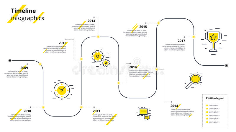 Business timeline workflow infographics. Corporate milestones gr. Aphic elements. Company presentation slide template with year periods. Modern vector history stock illustration