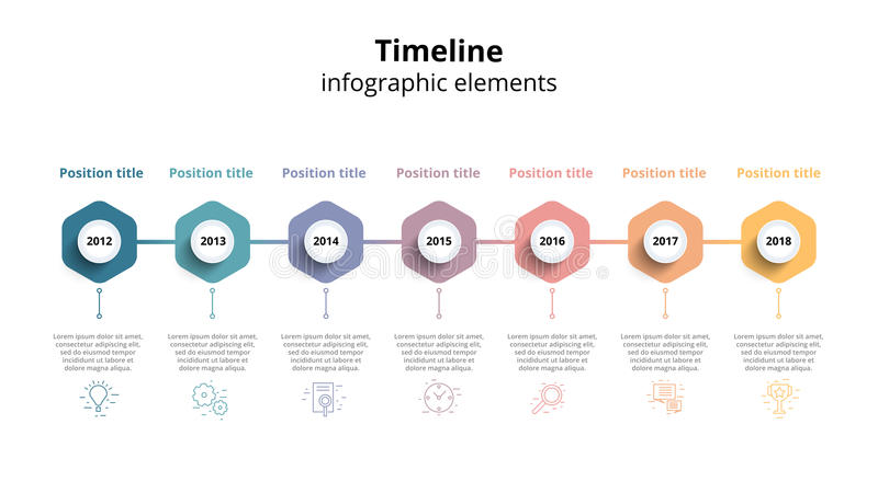 Business timeline workflow infographics. Corporate milestones gr. Aphic elements. Company presentation slide template with year periods. Modern vector history vector illustration