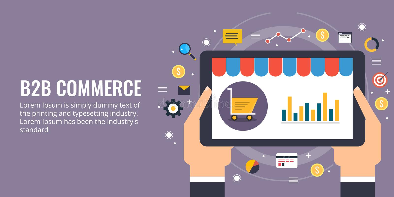 Business to business, b2b, commercio elettronico, sviluppo del sito Web e concetto di vendita Insegna piana di vendita di vettore royalty illustrazione gratis