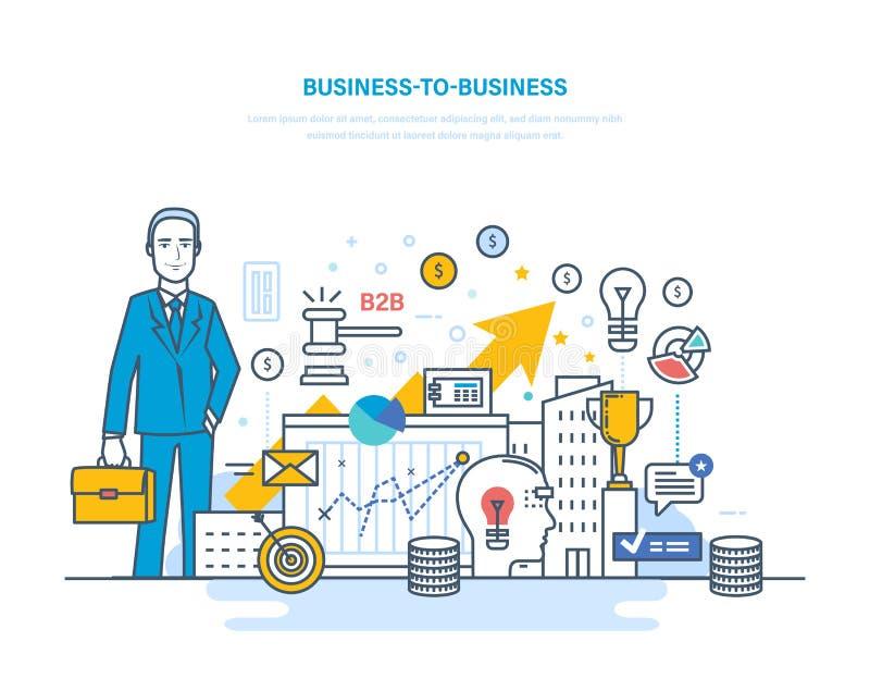 Business to business, commercio elettronico, commercio elettronico, mercati dei capitali, mercato azionario illustrazione di stock