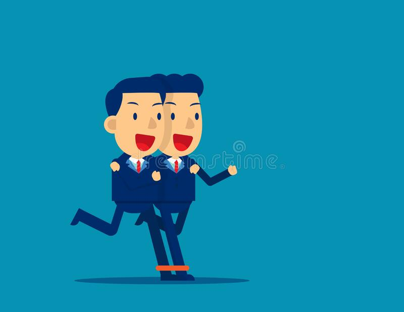 Business togetherness. Concept business teamwork vector, Achievement, Cute business, Flat kid business cartoon design royalty free stock photography