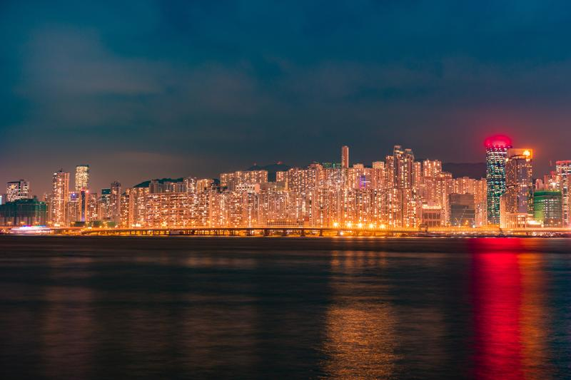 Business Towers and Residential Apartment Buildings in Hong Kong stock photo