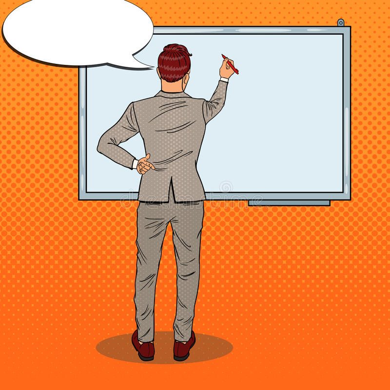 Business Trainer Drawing on the Whiteboard. Pop Art illustration royalty free illustration