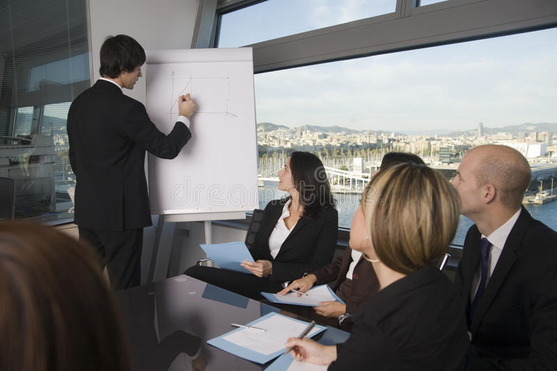 Business training. Businesspeople are discussing the work, or a salesperson or investment adviser is talking very friendly to female clients, good customer royalty free stock images