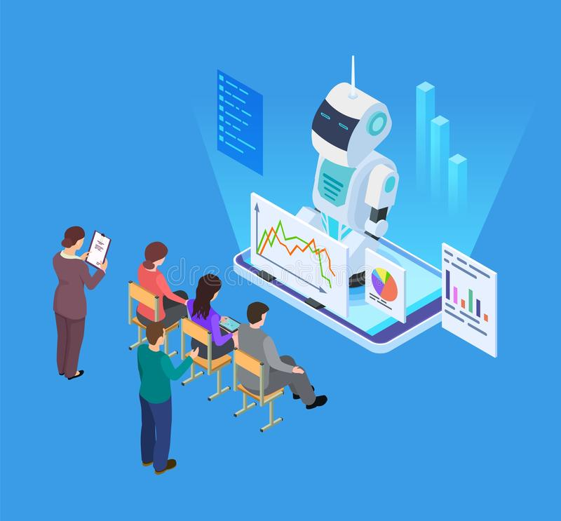 Business training with artificial intelligence. Isometric vector robot tutor, business education concept stock illustration