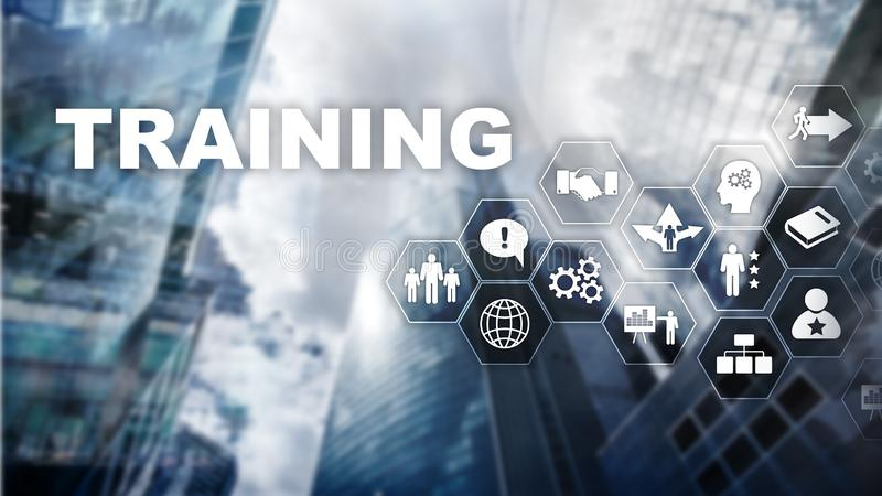 Business training concept. Training Webinar E-learning. Business training concept. Training Webinar E-learning Financial technology and communication concept stock photo