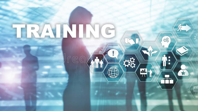 Business training concept. Training Webinar E-learning. Financial technology and communication concept. royalty free stock photo